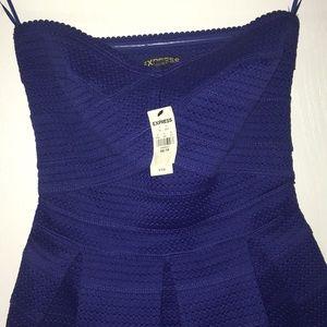 Express Blue Strapless Dress